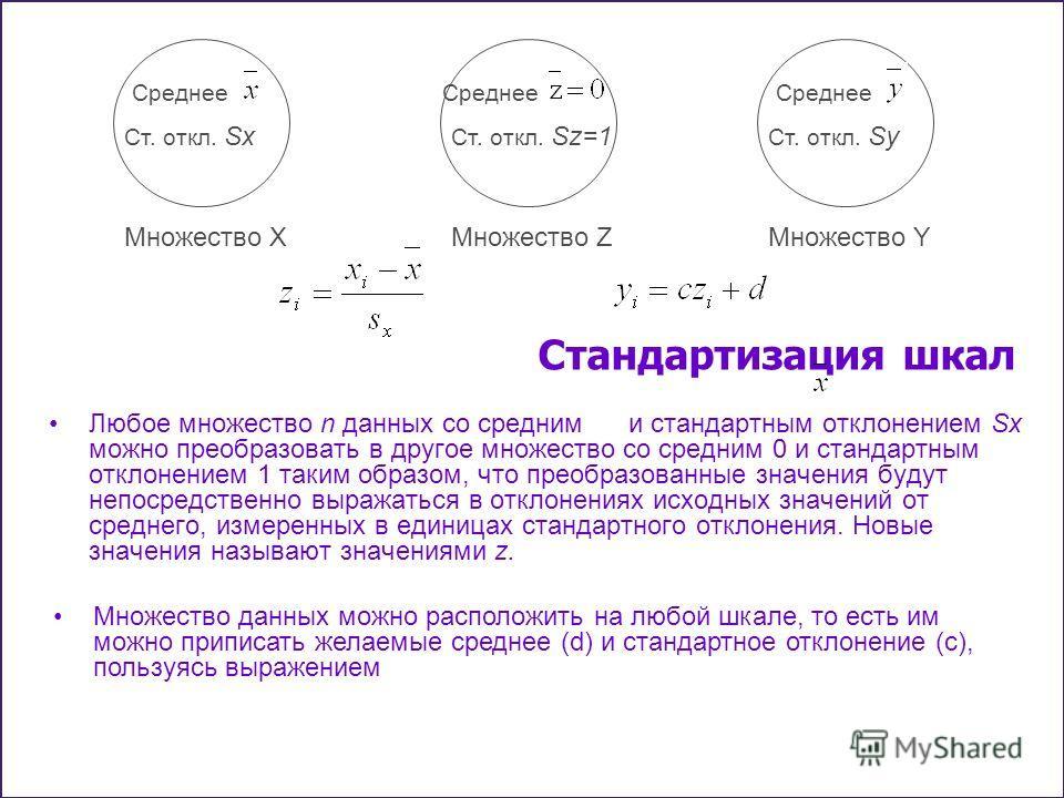 Стандартизация шкал Любое множество n данных со средним и стандартным отклонением Sx можно преобразовать в другое множество со средним 0 и стандартным отклонением 1 таким образом, что преобразованные значения будут непосредственно выражаться в отклон