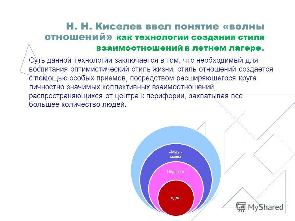 Н. Н. Киселев ввел понятие «волны отношений» как технологии создания стиля взаимоотношений в летнем лагере. Суть данной технологии заключается в том, что необходимый для воспитания оптимистический стиль жизни, стиль отношений создается с помощью особ