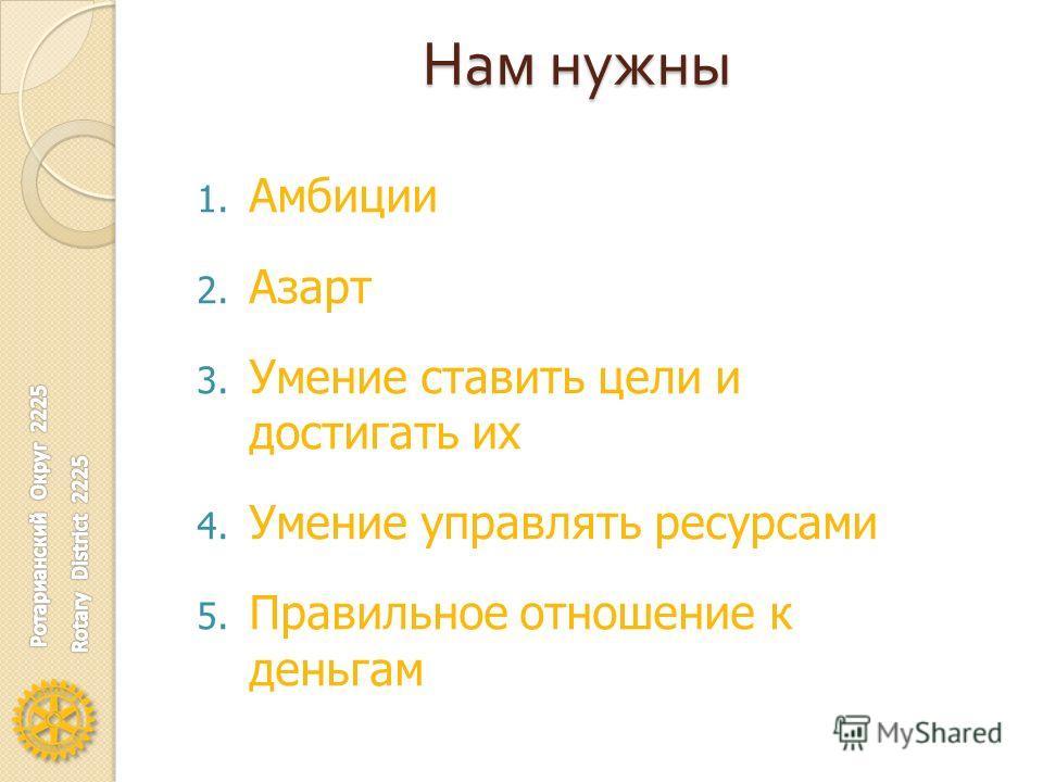 Нам нужны 1. Амбиции 2. Азарт 3. Умение ставить цели и достигать их 4. Умение управлять ресурсами 5. Правильное отношение к деньгам
