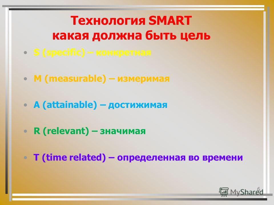 6 Технология SMART какая должна быть цель S (specific) – конкретная M (measurable) – измеримая A (attainable) – достижимая R (relevant) – значимая T (time related) – определенная во времени