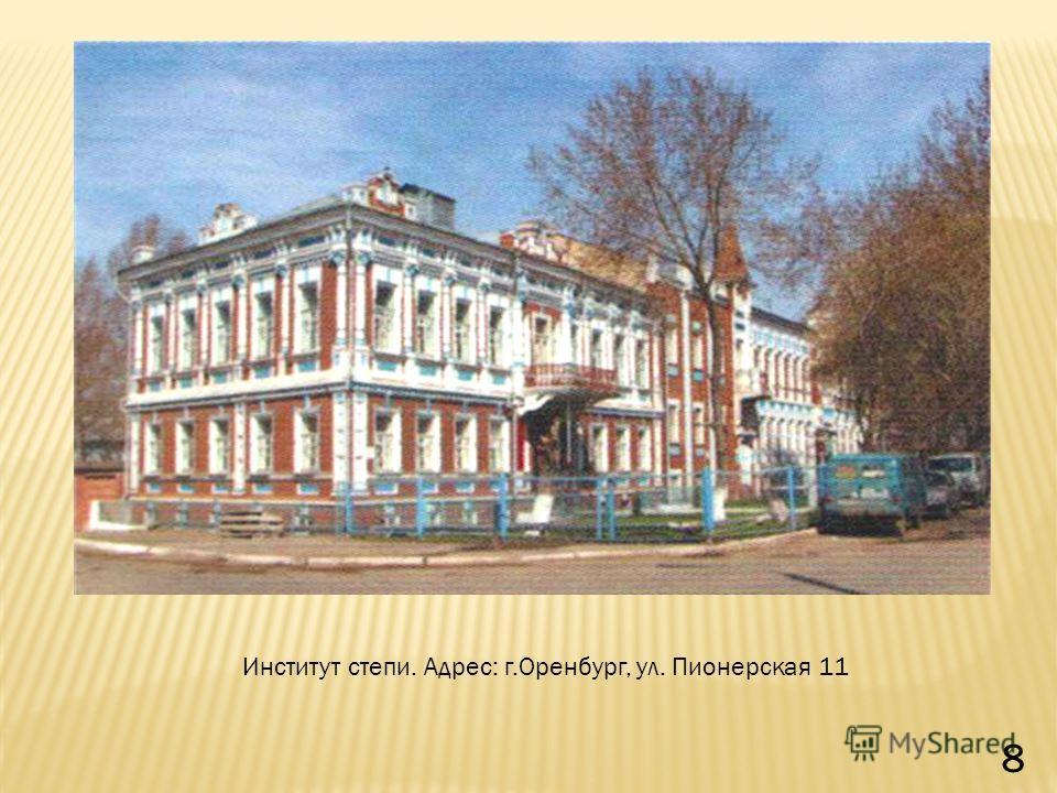 Институт степи. Адрес: г.Оренбург, ул. Пионерская 11 8