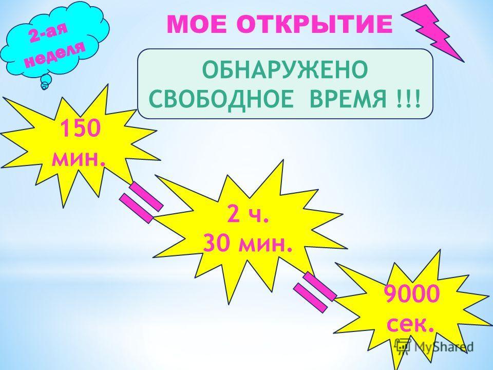 2-ая неделя МОЕ ОТКРЫТИЕ ОБНАРУЖЕНО СВОБОДНОЕ ВРЕМЯ !!! 150 мин. 2 ч. 30 мин. 9000 сек.