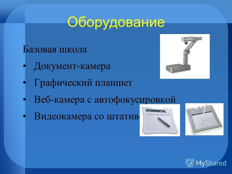 Оборудование Базовая школа Документ-камера Графический планшет Веб-камера с автофокусировкой Видеокамера со штативом