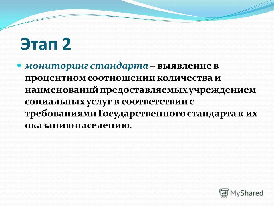 Этап 2 мониторинг стандарта – выявление в процентном соотношении количества и наименований предоставляемых учреждением социальных услуг в соответствии с требованиями Государственного стандарта к их оказанию населению.