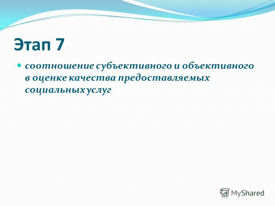 Этап 7 соотношение субъективного и объективного в оценке качества предоставляемых социальных услуг