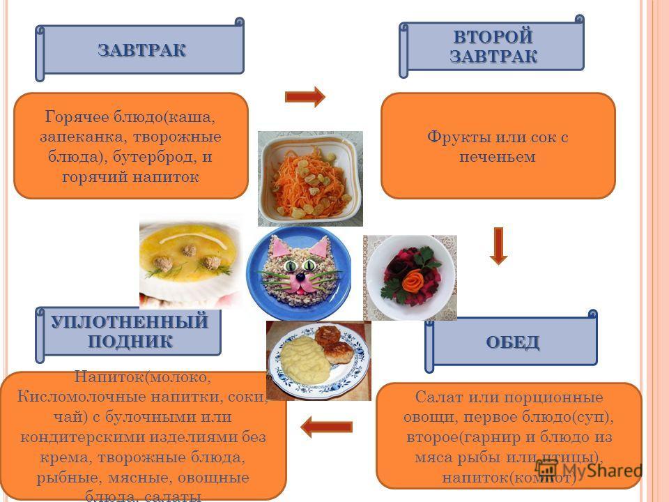 ЗАВТРАК ОБЕД УПЛОТНЕННЫЙ ПОДНИК ВТОРОЙ ЗАВТРАК Горячее блюдо(каша, запеканка, творожные блюда), бутерброд, и горячий напиток Салат или порционные овощи, первое блюдо(суп), второе(гарнир и блюдо из мяса рыбы или птицы), напиток(компот) Напиток(молоко,