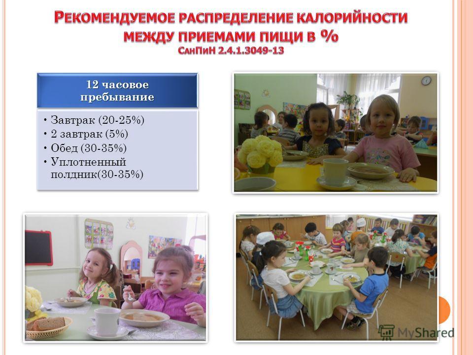12 часовое пребывание Завтрак (20-25%) 2 завтрак (5%) Обед (30-35%) Уплотненный полдник(30-35%)