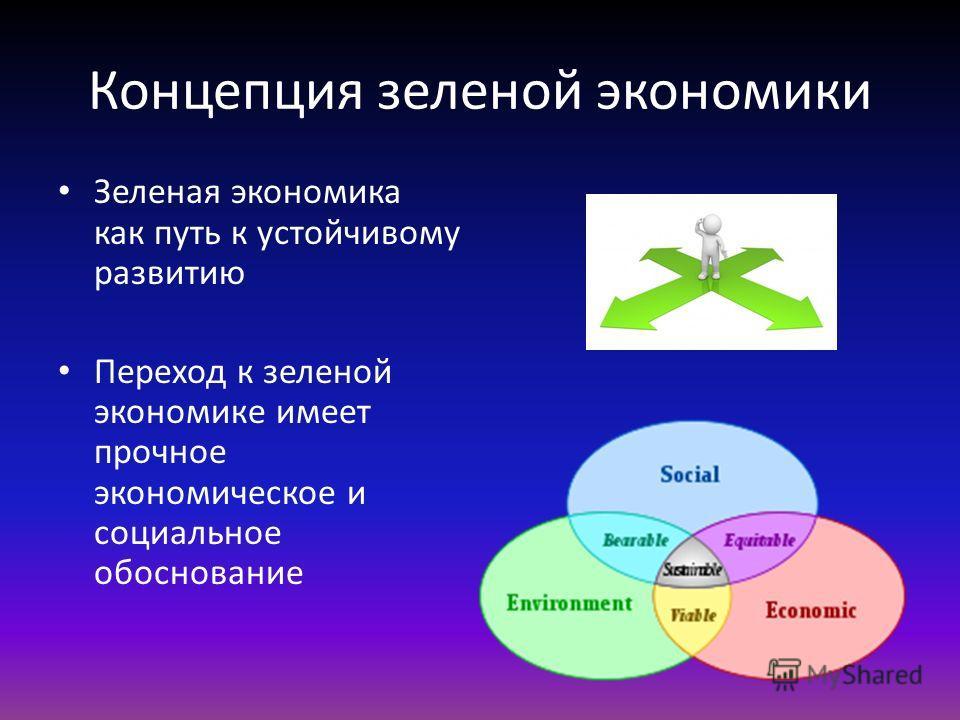 Концепция зеленой экономики Зеленая экономика как путь к устойчивому развитию Переход к зеленой экономике имеет прочное экономическое и социальное обоснование