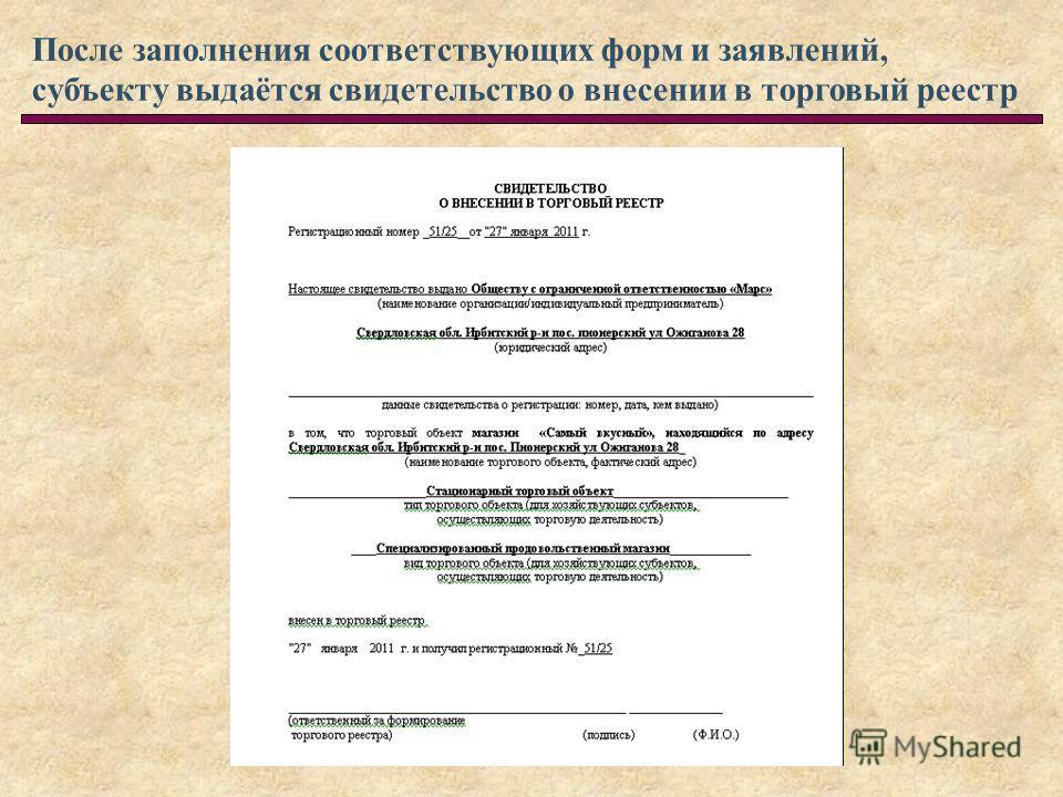 После заполнения соответствующих форм и заявлений, субъекту выдаётся свидетельство о внесении в торговый реестр