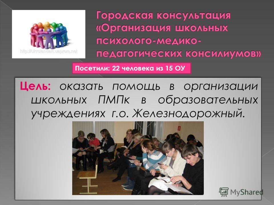 Цель: оказать помощь в организации школьных ПМПк в образовательных учреждениях г.о. Железнодорожный. Посетили: 22 человека из 15 ОУ
