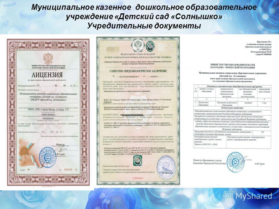 Муниципальное казенное дошкольное образовательное учреждение «Детский сад «Солнышко» Учредительные документы