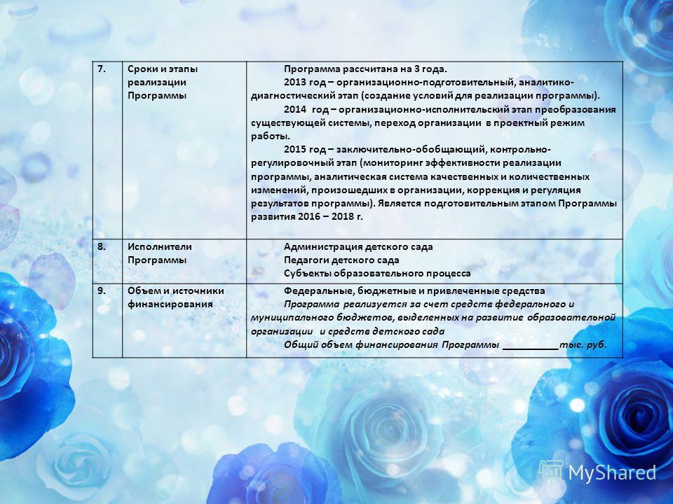 7.Сроки и этапы реализации Программы Программа рассчитана на 3 года. 2013 год – организационно-подготовительный, аналитико- диагностический этап (создание условий для реализации программы). 2014 год – организационно-исполнительский этап преобразовани