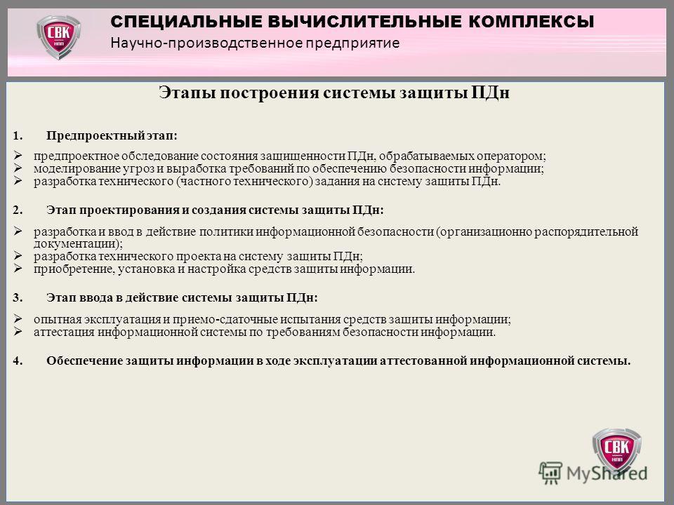 Этапы построения системы защиты ПДн 1.Предпроектный этап: предпроектное обследование состояния защищенности ПДн, обрабатываемых оператором; моделирование угроз и выработка требований по обеспечению безопасности информации; разработка технического (ча
