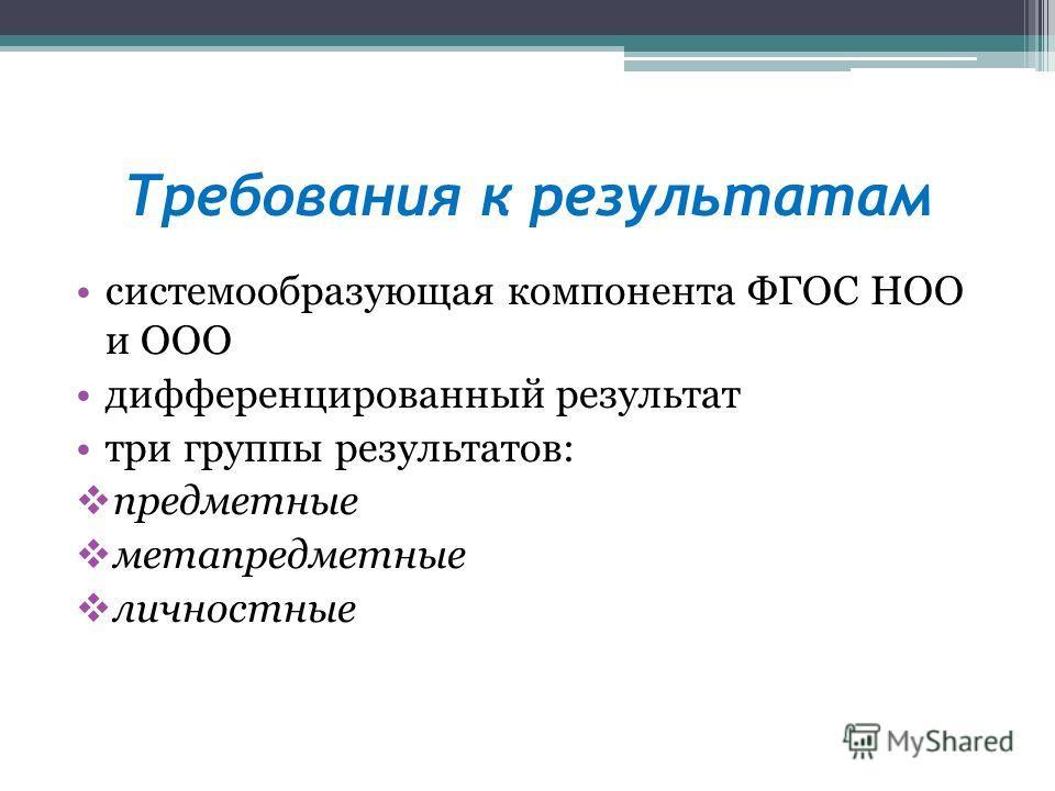 Требования к результатам системообразующая компонента ФГОС НОО и ООО дифференцированный результат три группы результатов: предметные метапредметные личностные