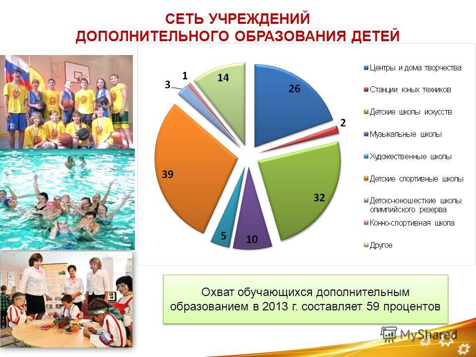 СЕТЬ УЧРЕЖДЕНИЙ ДОПОЛНИТЕЛЬНОГО ОБРАЗОВАНИЯ ДЕТЕЙ Охват обучающихся дополнительным образованием в 2013 г. составляет 59 процентов
