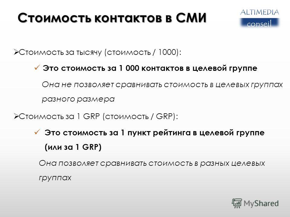 Стоимость контактов в СМИ Стоимость за тысячу (стоимость / 1000): Это стоимость за 1 000 контактов в целевой группе Она не позволяет сравнивать стоимость в целевых группах разного размера Стоимость за 1 GRP (стоимость / GRP): Это стоимость за 1 пункт