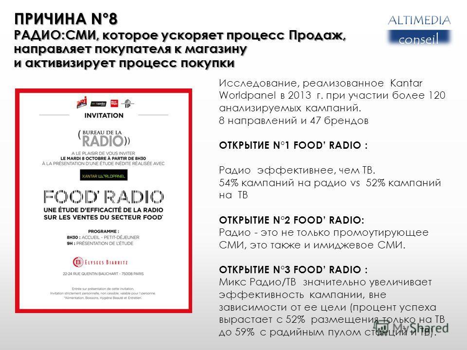 80 Исследование, реализованное Kantar Worldpanel в 2013 г. при участии более 120 анализируемых кампаний. 8 направлений и 47 брендов ОТКРЫТИЕ N°1 FOOD RADIO : Радио эффективнее, чем ТВ. 54% кампаний на радио vs 52% кампаний на ТВ ОТКРЫТИЕ N°2 FOOD RAD