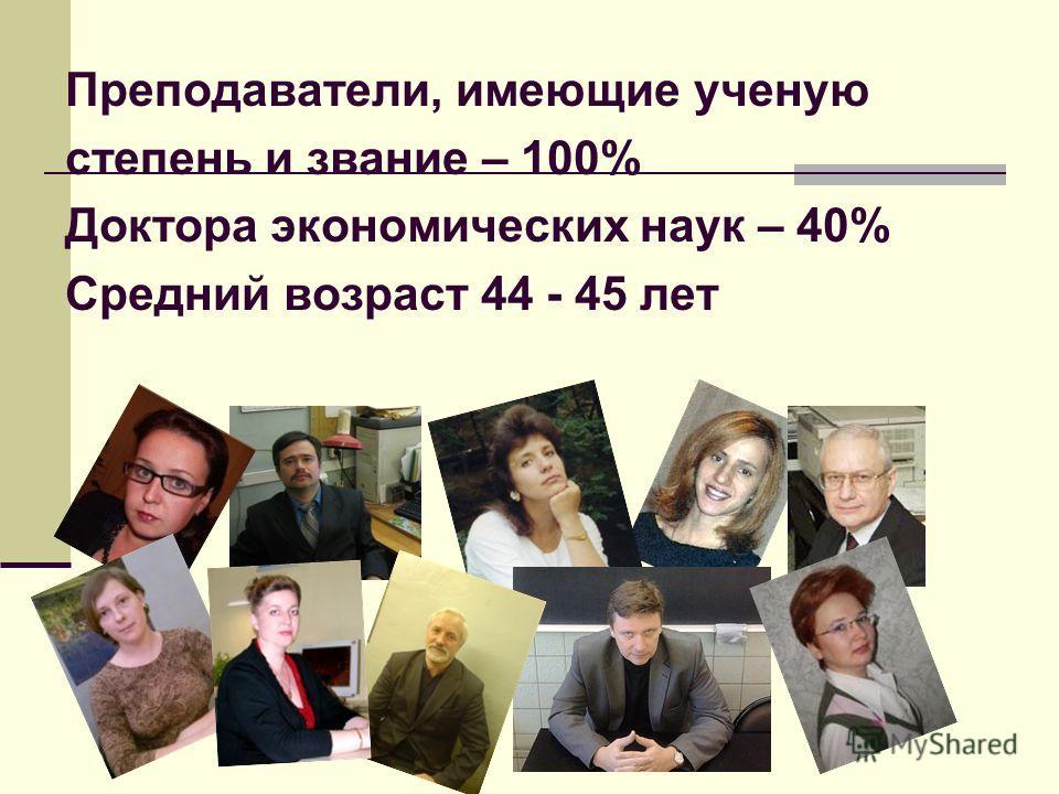 Преподаватели, имеющие ученую степень и звание – 100% Доктора экономических наук – 40% Средний возраст 44 - 45 лет