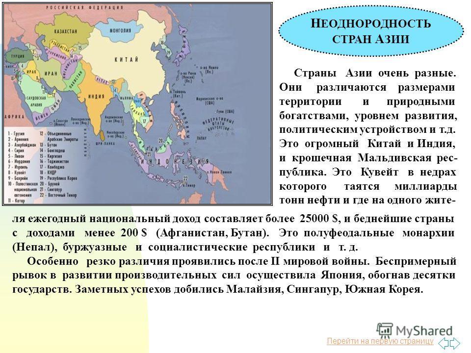 Перейти на первую страницу Н ЕОДНОРОДНОСТЬ СТРАН А ЗИИ Страны Азии очень разные. Они различаются размерами территории и природными богатствами, уровнем развития, политическим устройством и т.д. Это огромный Китай и Индия, и крошечная Мальдивская рес-