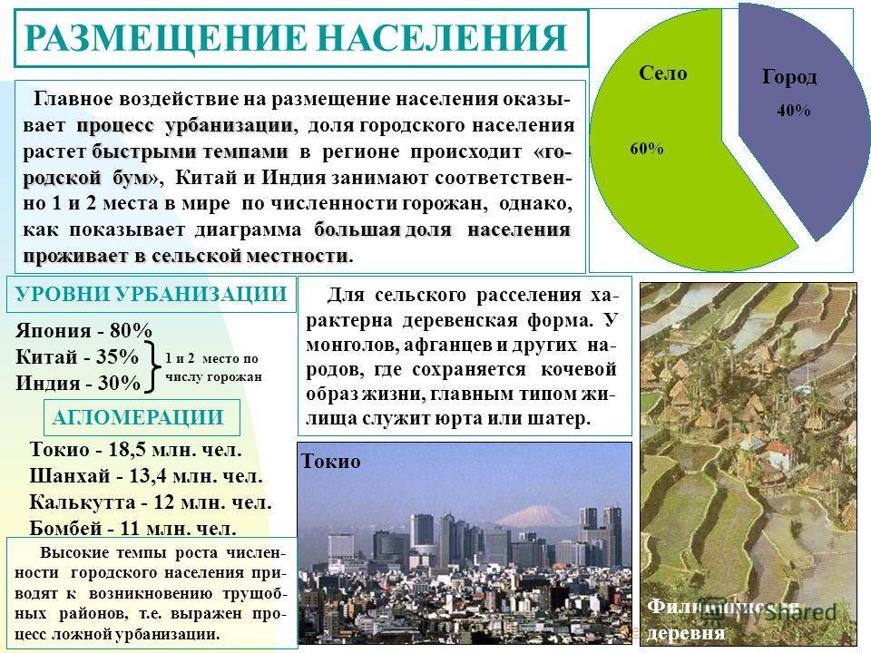 Перейти на первую страницу РАЗМЕЩЕНИЕ НАСЕЛЕНИЯ процесс урбанизации быстрыми темпами«го- родской бум большая доля населения проживает в сельской местности Главное воздействие на размещение населения оказы- вает процесс урбанизации, доля городского на