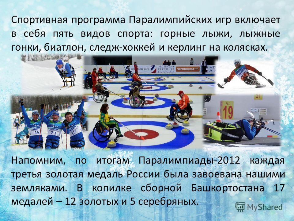 Спортивная программа Паралимпийских игр включает в себя пять видов спорта: горные лыжи, лыжные гонки, биатлон, следж-хоккей и керлинг на колясках. Напомним, по итогам Паралимпиады-2012 каждая третья золотая медаль России была завоевана нашими земляка