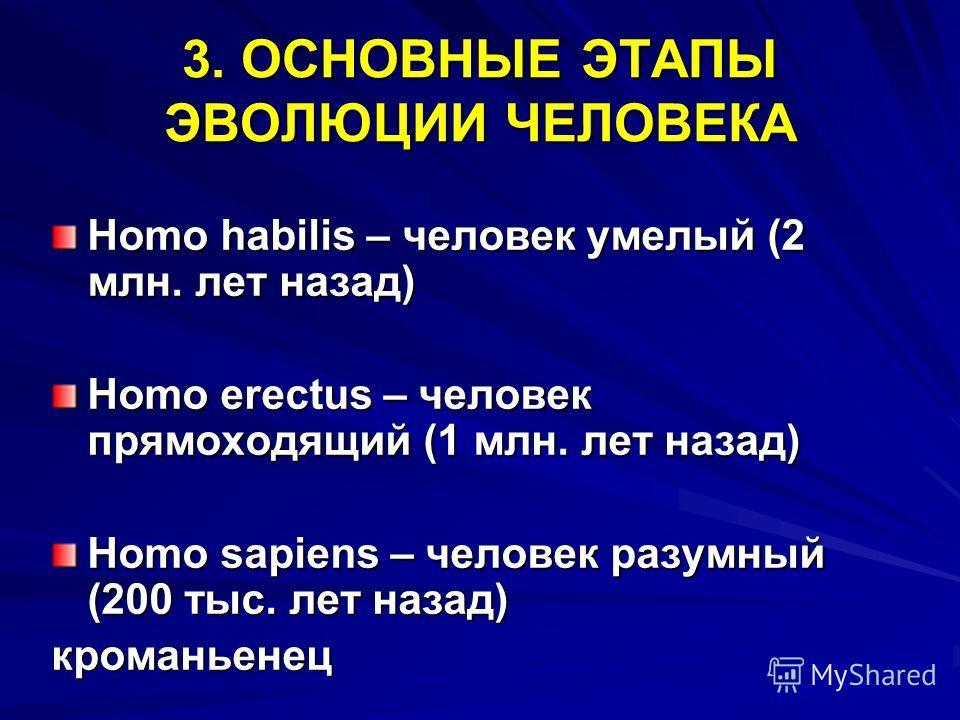 3. ОСНОВНЫЕ ЭТАПЫ ЭВОЛЮЦИИ ЧЕЛОВЕКА Homo habilis – человек умелый (2 млн. лет назад) Homo erectus – человек прямоходящий (1 млн. лет назад) Homo sapiens – человек разумный (200 тыс. лет назад) кроманьенец