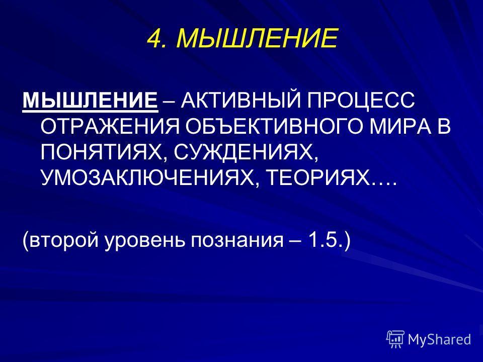 4. МЫШЛЕНИЕ МЫШЛЕНИЕ – АКТИВНЫЙ ПРОЦЕСС ОТРАЖЕНИЯ ОБЪЕКТИВНОГО МИРА В ПОНЯТИЯХ, СУЖДЕНИЯХ, УМОЗАКЛЮЧЕНИЯХ, ТЕОРИЯХ…. (второй уровень познания – 1.5.)