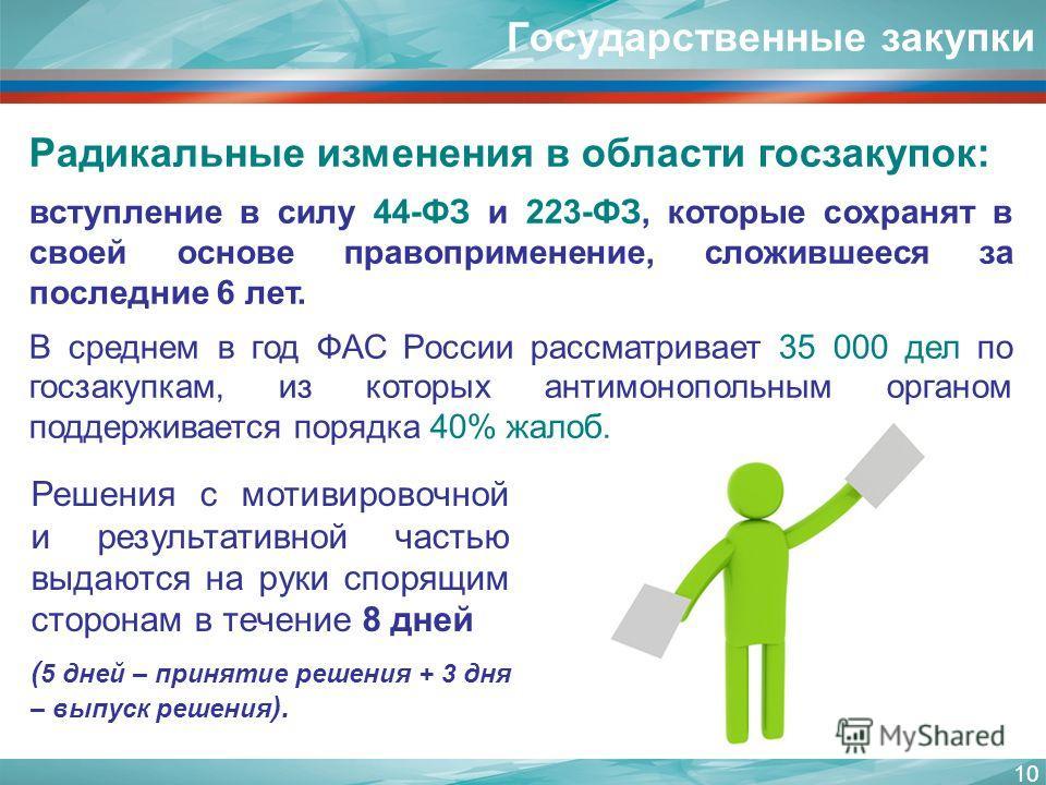 10 Радикальные изменения в области госзакупок: вступление в силу 44-ФЗ и 223-ФЗ, которые сохранят в своей основе правоприменение, сложившееся за последние 6 лет. В среднем в год ФАС России рассматривает 35 000 дел по госзакупкам, из которых антимоноп