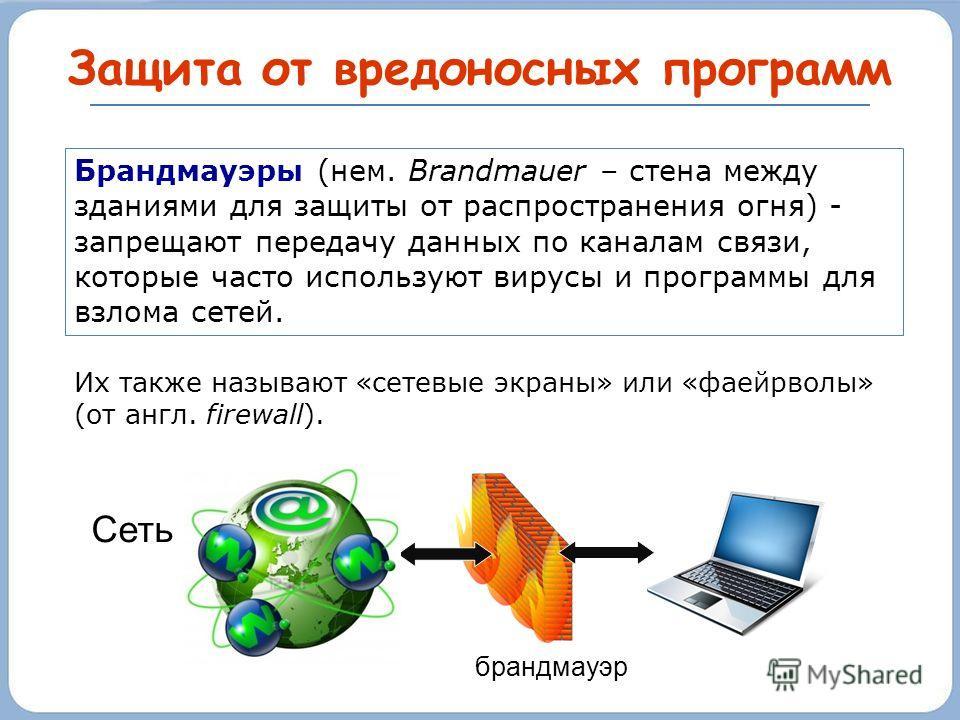 Защита от вредоносных программ Брандмауэры (нем. Brandmauer – стена между зданиями для защиты от распространения огня) - запрещают передачу данных по каналам связи, которые часто используют вирусы и программы для взлома сетей. Их также называют «сете