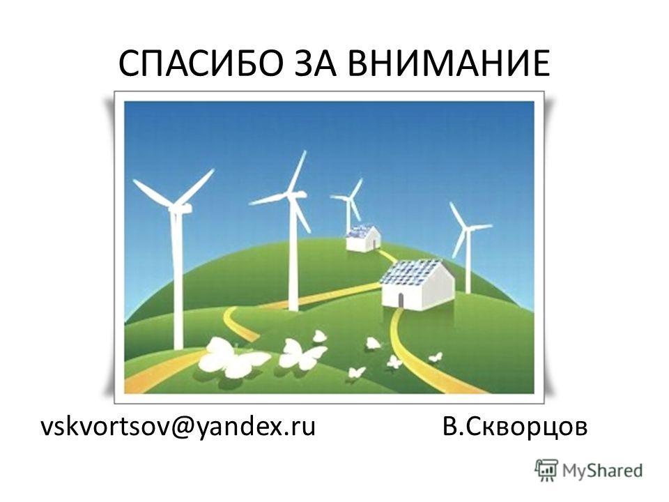 СПАСИБО ЗА ВНИМАНИЕ vskvortsov@yandex.ru В.Скворцов