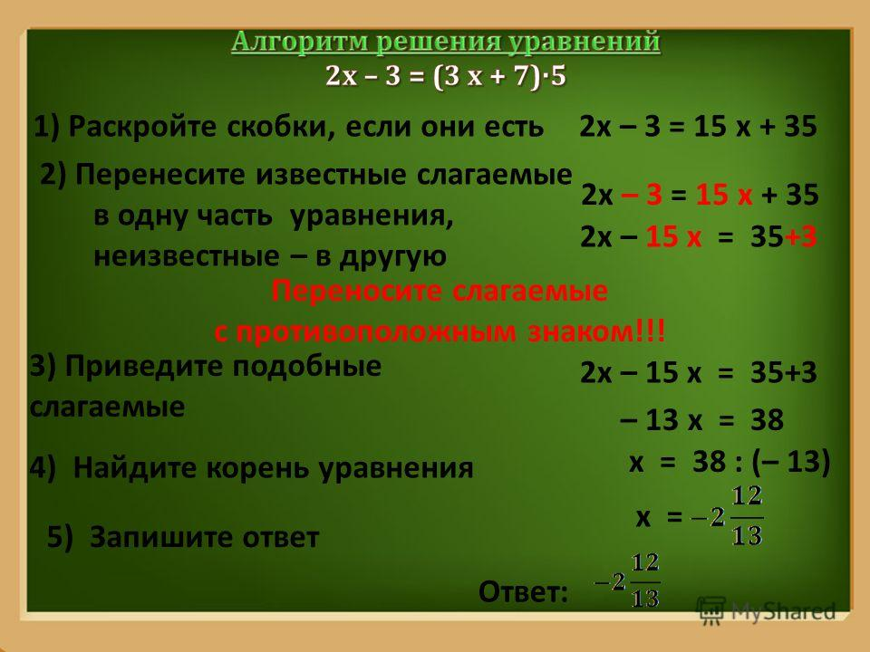 ProPowerPoint.Ru 1) Раскройте скобки, если они есть2х – 3 = 15 х + 35 2) Перенесите известные слагаемые в одну часть уравнения, неизвестные – в другую 2х – 3 = 15 х + 35 2х – 15 х = 35+3 Переносите слагаемые с противоположным знаком!!! 3) Приведите п