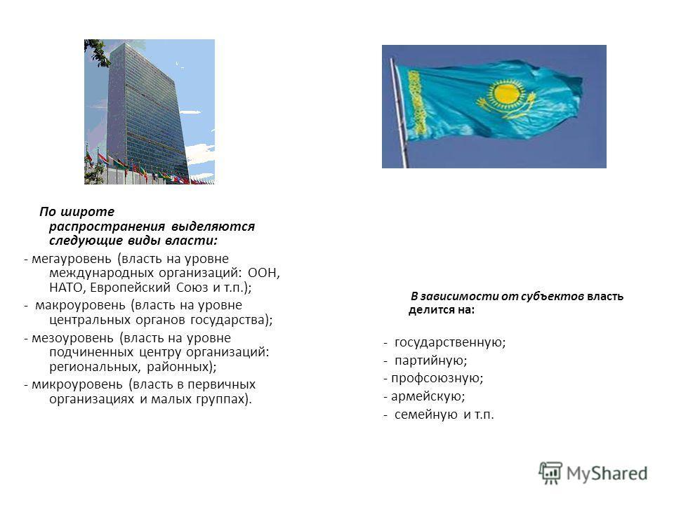 По широте распространения выделяются следующие виды власти: - мегауровень (власть на уровне международных организаций: ООН, НАТО, Европейский Союз и т.п.); - макроуровень (власть на уровне центральных органов государства); - мезоуровень (власть на ур