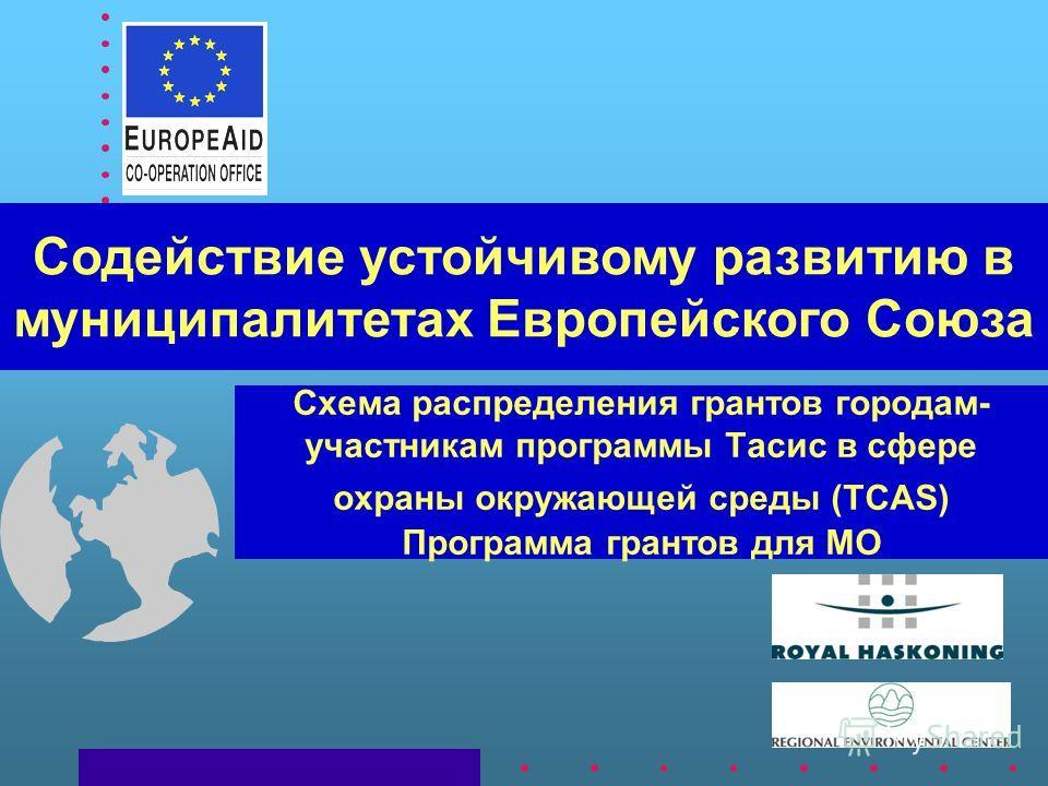 Схема распределения грантов городам- участникам программы Тасис в сфере охраны окружающей среды (TCAS) Программа грантов для МО Содействие устойчивому развитию в муниципалитетах Европейского Союза