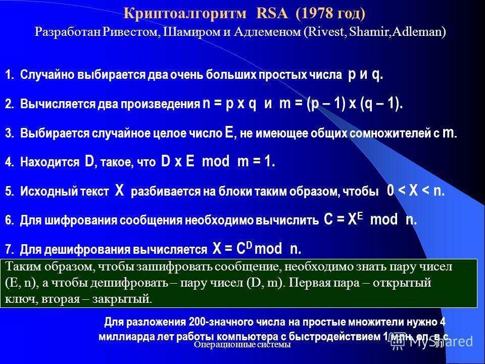 Операционные системы11 Криптоалгоритм RSA (1978 год) Разработан Ривестом, Шамиром и Адлеменом (Rivest, Shamir,Adleman) 1. Случайно выбирается два очень больших простых числа p и q. 2. Вычисляется два произведения n = p x q и m = (p – 1) x (q – 1). 3.