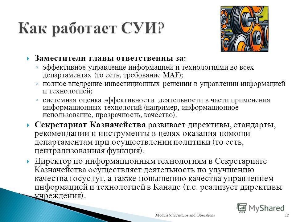 Заместители главы ответственны за : эффективное управление информацией и технологиями во всех департаментах ( то есть, требование MAF); полное внедрение инвестиционных решении в управлении информацией и технологией ; системная оценка эффективности де