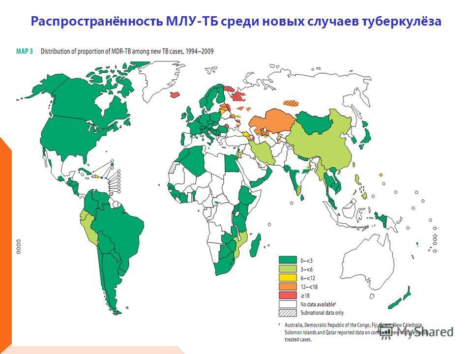 Распространённость МЛУ-ТБ среди новых случаев туберкулёза