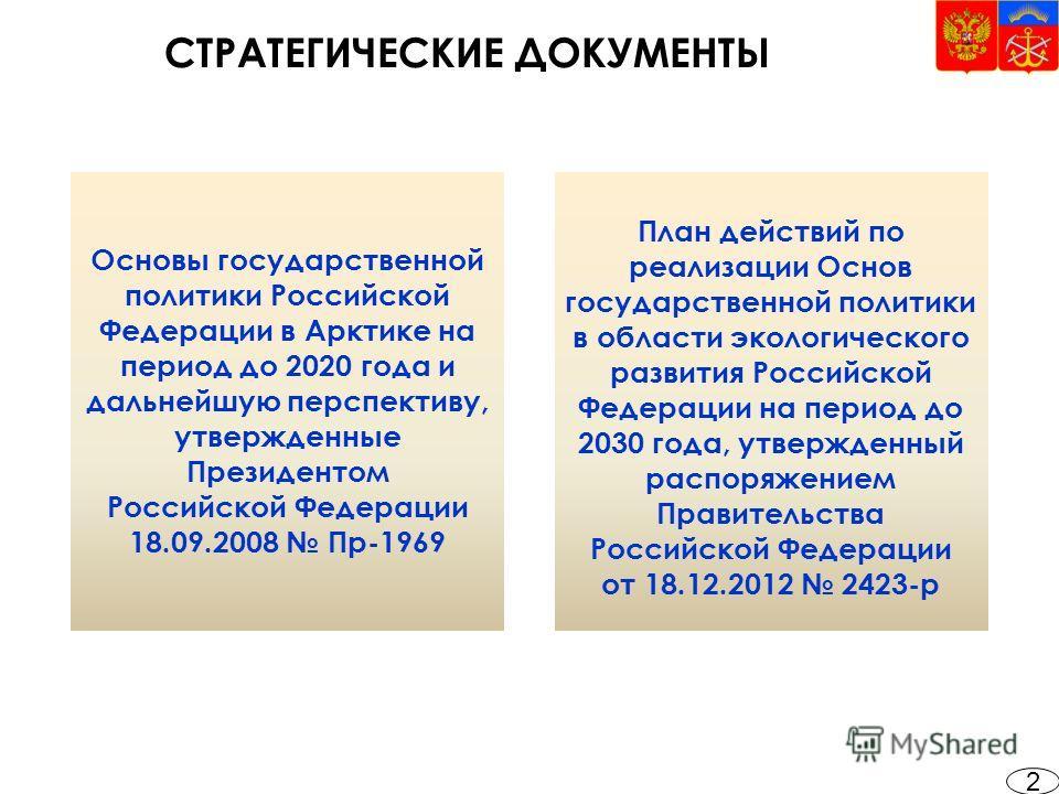 СТРАТЕГИЧЕСКИЕ ДОКУМЕНТЫ 2 Основы государственной политики Российской Федерации в Арктике на период до 2020 года и дальнейшую перспективу, утвержденные Президентом Российской Федерации 18.09.2008 Пр-1969 План действий по реализации Основ государствен