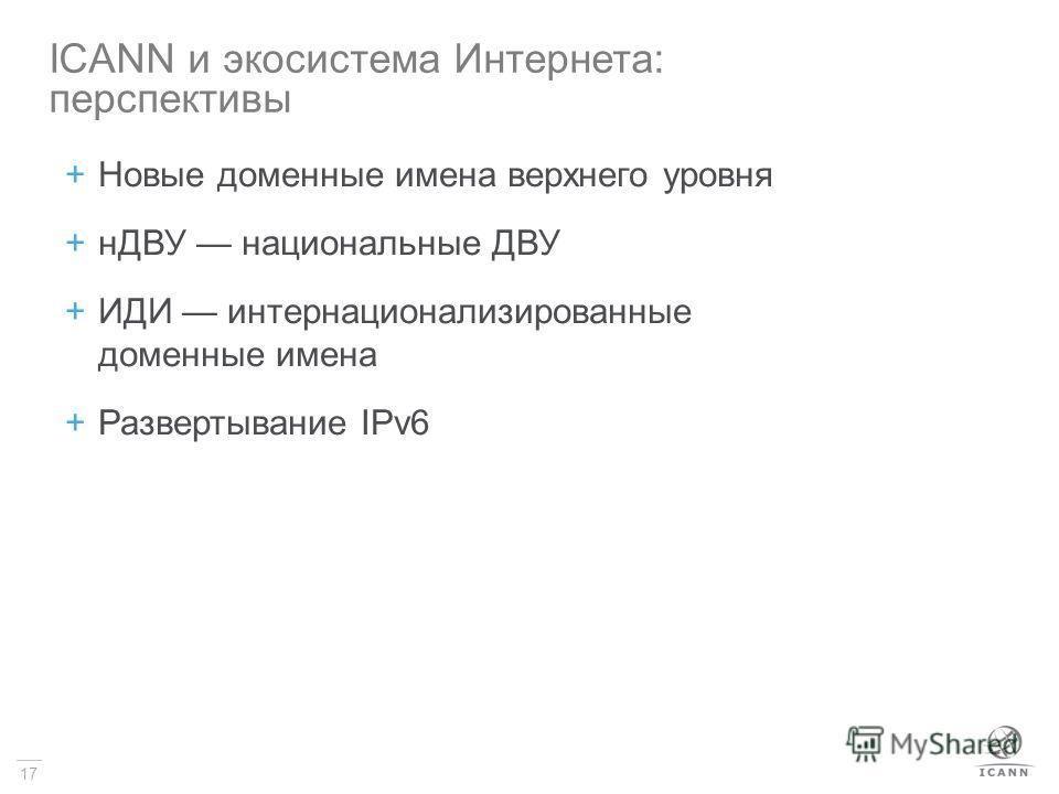 17 +Новые доменные имена верхнего уровня +нДВУ национальные ДВУ +ИДИ интернационализированные доменные имена +Развертывание IPv6 ICANN и экосистема Интернета: перспективы