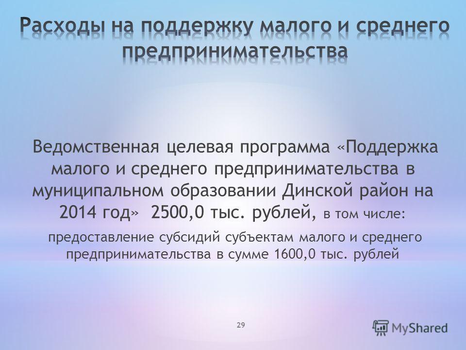 Ведомственная целевая программа «Поддержка малого и среднего предпринимательства в муниципальном образовании Динской район на 2014 год» 2500,0 тыс. рублей, в том числе: предоставление субсидий субъектам малого и среднего предпринимательства в сумме 1