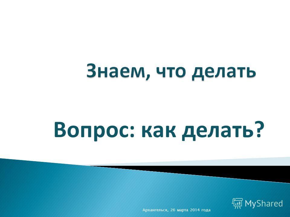 Вопрос: как делать? Архангельск, 26 марта 2014 года
