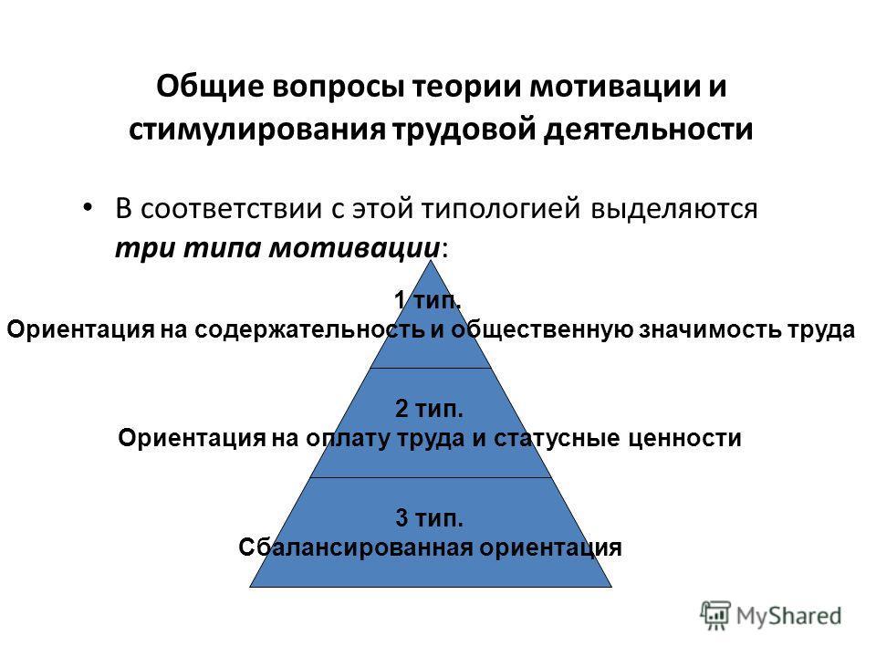 В соответствии с этой типологией выделяются три типа мотивации: 1 тип. Ориентация на содержательность и общественную значимость труда 2 тип. Ориентация на оплату труда и статусные ценности 3 тип. Сбалансированная ориентация