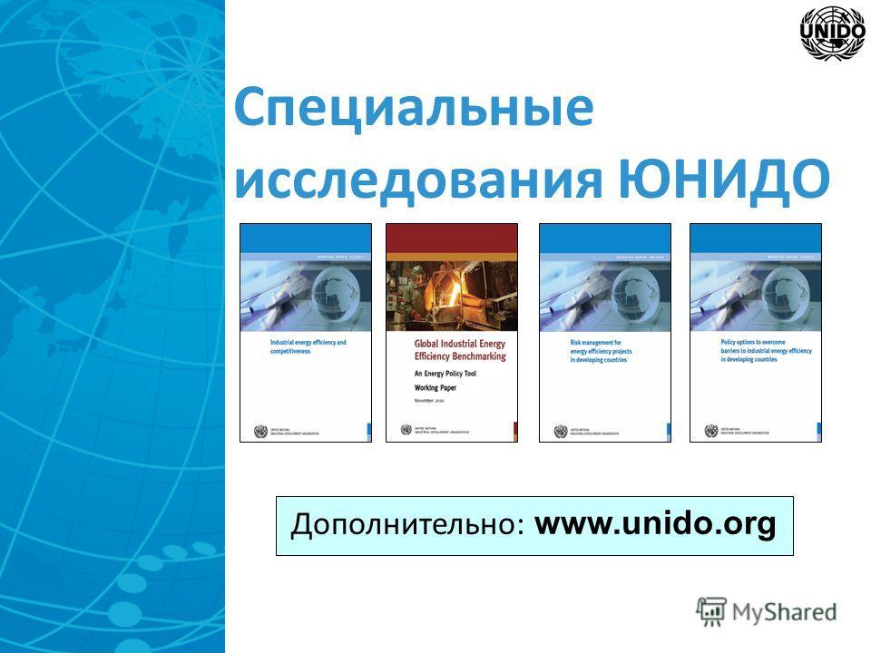 Специальные исследования ЮНИДО Дополнительно: www.unido.org
