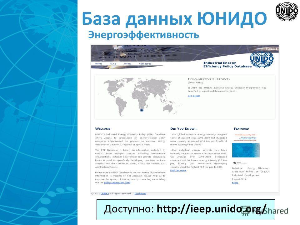 База данных ЮНИДО Энергоэффективность Доступно: http://ieep.unido.org/