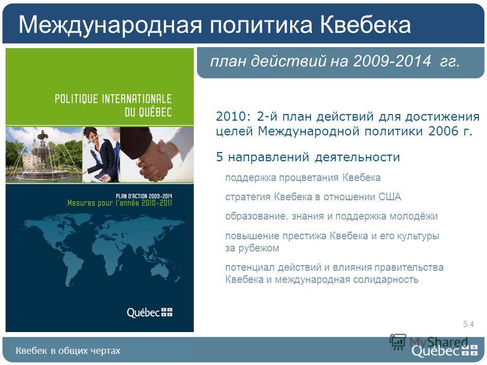 Квебек в общих чертах план действий на 2009-2014 гг. 2010: 2-й план действий для достижения целей Международной политики 2006 г. 5 направлений деятельности поддержка процветания Квебека стратегия Квебека в отношении США образование, знания и поддержк