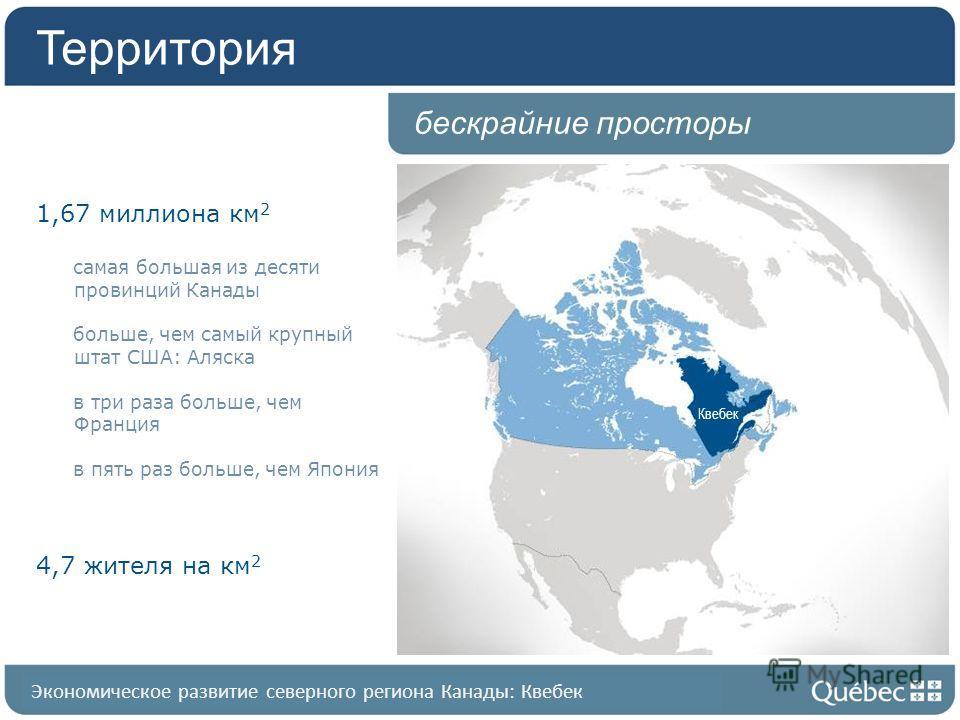 Квебек в общих чертах Квебек бескрайние просторы Территория 1,67 миллиона км 2 самая большая из десяти провинций Канады больше, чем самый крупный штат США: Аляска в три раза больше, чем Франция в пять раз больше, чем Япония 4,7 жителя на км 2 Экономи