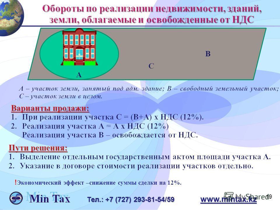 19 Тел.: +7 (727) 293-81-54/59 www.mintax.kz В A ! Экономический эффект –снижение суммы сделки на 12%.