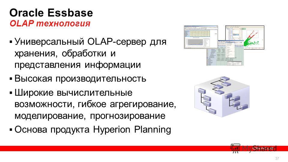 37 Copyright © 2013, Oracle and/or its affiliates. All rights reserved.Confidential – Oracle Internal 37 Oracle Essbase OLAP технология Универсальный OLAP-сервер для хранения, обработки и представления информации Высокая производительность Широкие вы