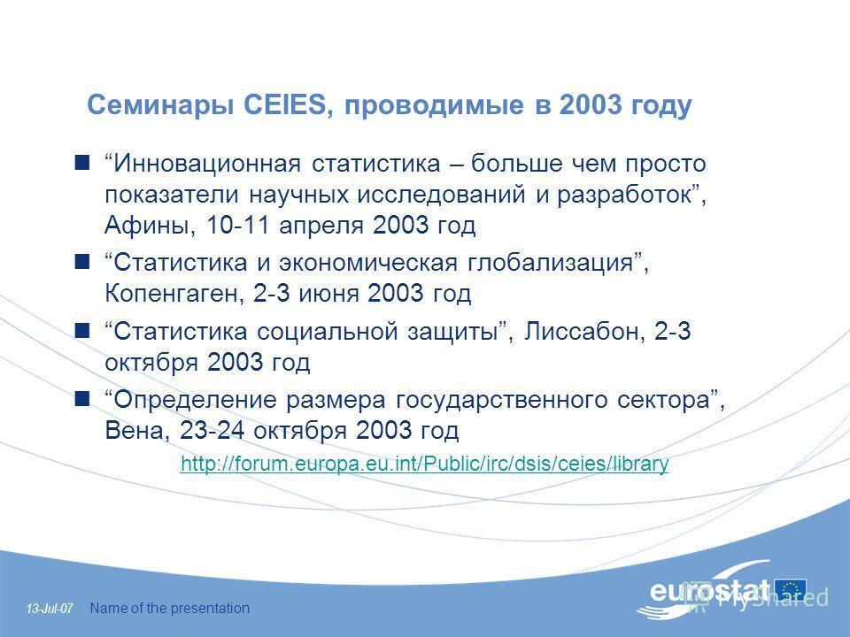 13-Jul-07 Name of the presentation Семинары CEIES, проводимые в 2003 году Инновационная статистика – больше чем просто показатели научных исследований и разработок, Афины, 10-11 апреля 2003 год Статистика и экономическая глобализация, Копенгаген, 2-3