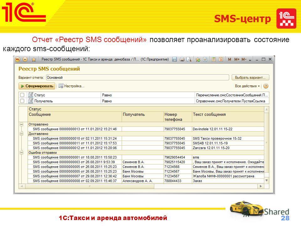 28 Октябрь 2010 г. 1С:Такси и аренда автомобилей SMS-центр Отчет «Реестр SMS сообщений» позволяет проанализировать состояние каждого sms-сообщений: