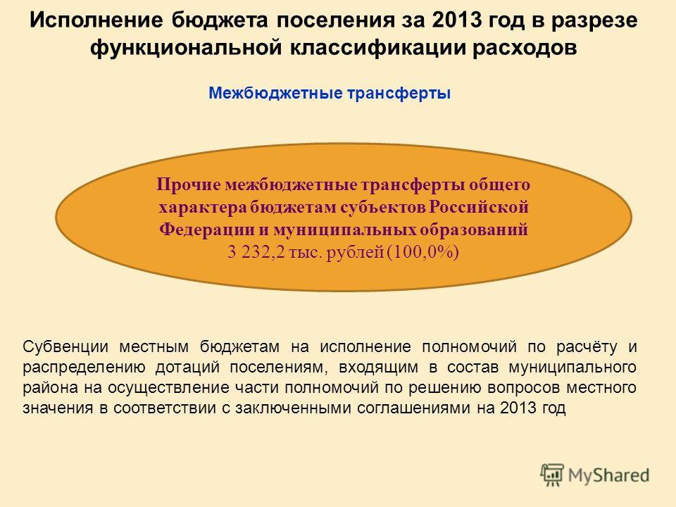Исполнение бюджета поселения за 2013 год в разрезе функциональной классификации расходов Прочие межбюджетные трансферты общего характера бюджетам субъектов Российской Федерации и муниципальных образований 3 232,2 тыс. рублей (100,0%) Межбюджетные тра